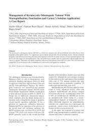 Management of Keratocystic Odontogenic Tumour With ...
