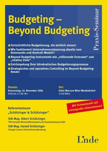 Budgeting – Beyond Budgeting - Orange Cosmos