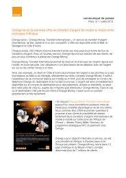 communiqué de presse Orange lance la première ... - Orange.com