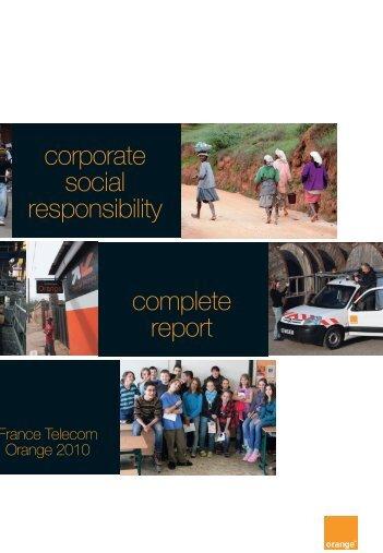 corporate social responsibility complete report - Orange.com