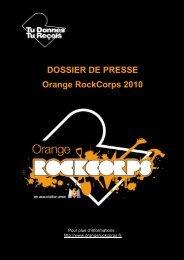 DOSSIER DE PRESSE Orange RockCorps 2010 - Orange.com
