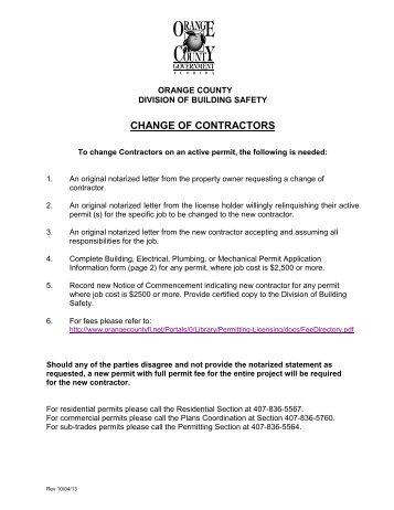change Contractors - Permits & Licenses