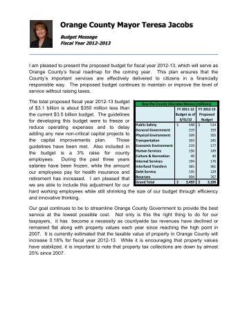 FY 2013 Proposed Budget Book - Home | Orange County Gov FL