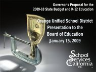 Governor's Proposal for the 09-10 State Budget & K-12 Education