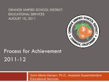 Process for Achievement - Orange Unified School District
