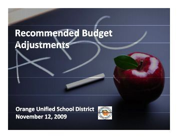 Recommended Budget Adjustments - Orange Unified School District