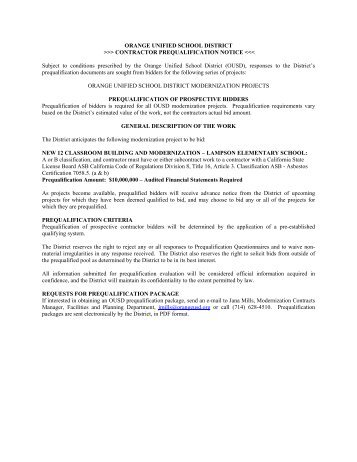contractor prequalification notice - Orange Unified School District