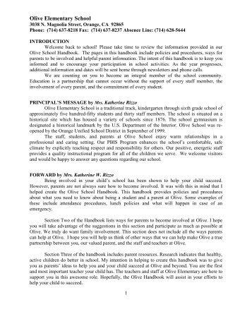 Olive Elementary School Handbook 2012-2013 - Orange Unified ...