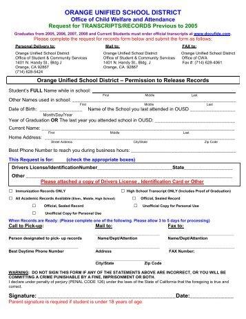 Transcript/Records Request - Orange Unified School District