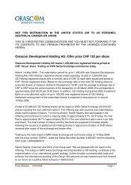 Orascom Development Holding AG: Offer price CHF 152 per share