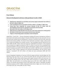 Press Release Orascom Development achieves solid operational ...