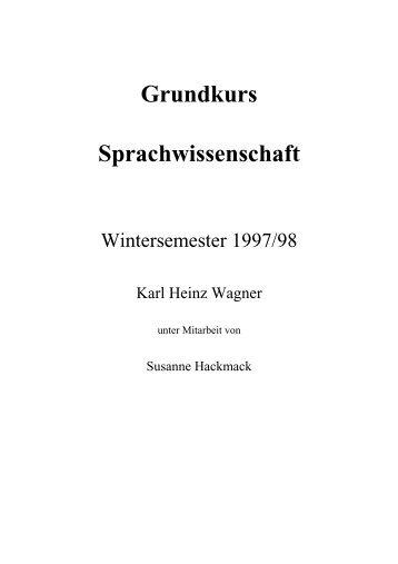Grundkurs Sprachwissenschaft - Sprach- und ...