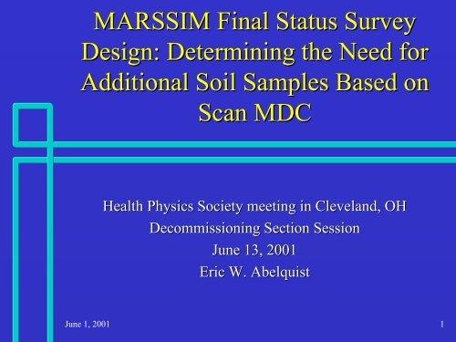 MARSSIM Final Status Survey Design: Determining the Need for ...