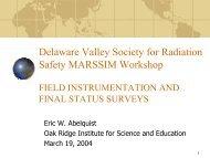 Field Instrumentation and Final Status Surveys - Oak Ridge ...