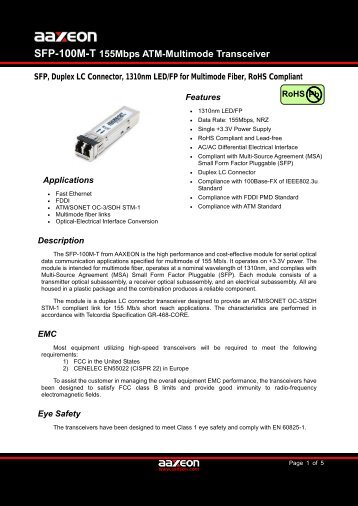 SFP-100M-T 155Mbps ATM-Multimode Transceiver - Orbit Micro