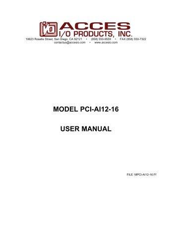 MODEL PCI-AI12-16 USER MANUAL - Orbit Micro