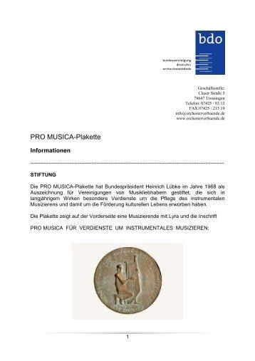 PRO MUSICA-Plakette - Bundesvereinigung deutscher ...