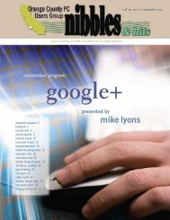 Nibbles & Bits, September 2011 - Orange County IBM PC Users ...