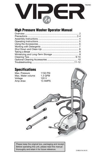 high pressure washer operator manual karcher rh yumpu com Husky 2600 Pressure Washers Manuals Pressure Washer Parts & Accessories