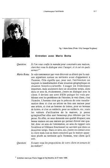 Entretien avec Mario Botta - Ordiecole.com