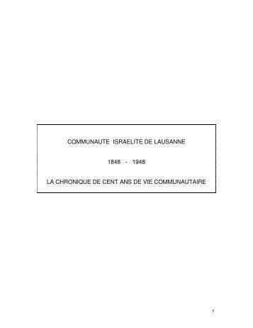 Communauté Israélite de Lausanne 1848-1948. La ... - Ordiecole.com
