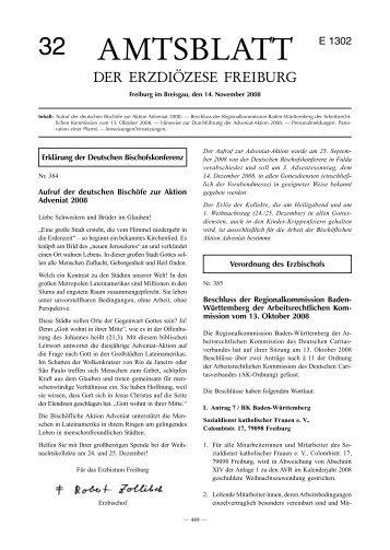 Amtsblatt 32 / 2008 - Erzbischöfliches Ordinariat Freiburg