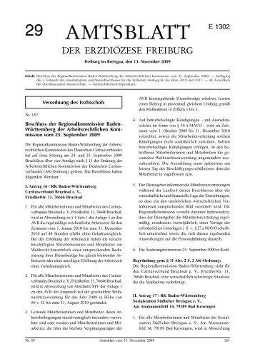 amtsblatt 29 e 1302 - Erzbischöfliches Ordinariat Freiburg