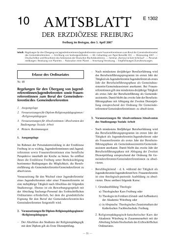 Amtsblatt Nr. 10 - Erzbischöfliches Ordinariat Freiburg