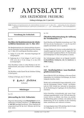 Amtsblatt Nr. 17 - Erzbischöfliches Ordinariat Freiburg