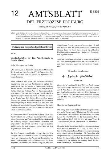 Amtsblatt 12 / 2011 - Erzbischöfliches Ordinariat Freiburg