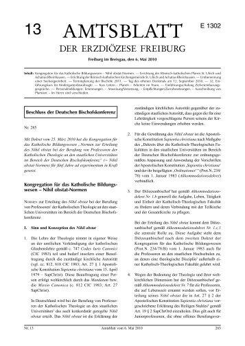 Amtsblatt Nr. 13 - Erzbischöfliches Ordinariat Freiburg
