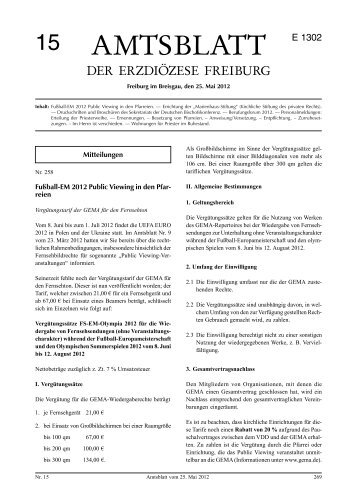 Amtsblatt Nr. 15 - Erzbischöfliches Ordinariat Freiburg
