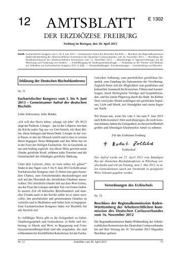 Amtsblatt Nr. 12 - Erzbischöfliches Ordinariat Freiburg