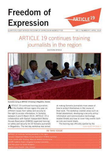 Article 19 Eastern Africa Quarterly Newsletter on Freedom of Expression April 2014
