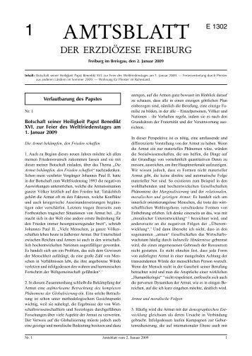 Amtsblatt Nr. 1 - Erzbischöfliches Ordinariat Freiburg
