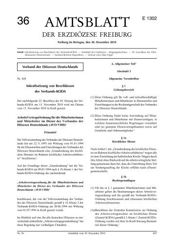 Amtsblatt Nr. 36 - Erzbischöfliches Ordinariat Freiburg