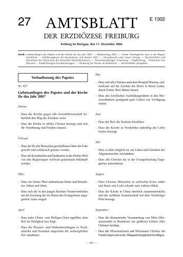Amtsblatt Nr. 27 - Erzbischöfliches Ordinariat Freiburg