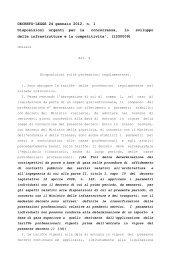 DECRETO-LEGGE 24 gennaio 2012, n. 1 Disposizioni urgenti per la ...