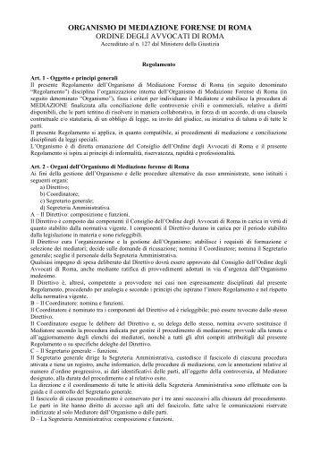 organismo di mediazione forense di roma ordine degli avvocati di ...