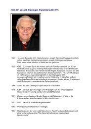 Prof. Dr. Joseph Ratzinger, Papst Benedikt XVI. - Ordo Socialis