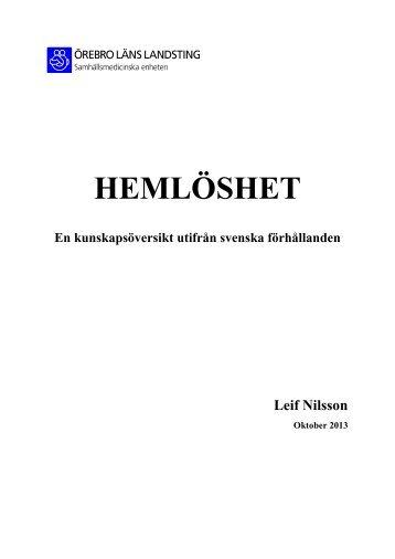 HEMLÖSHET - Örebro läns landsting