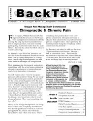 Chiropractic & Chronic Pain - State of Oregon