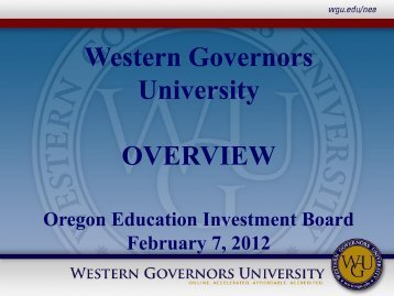 Western Governors University OVERVIEW - State of Oregon