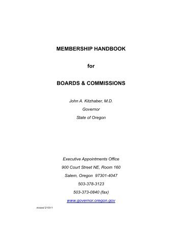 MEMBERSHIP HANDBOOK for BOARDS ... - State of Oregon