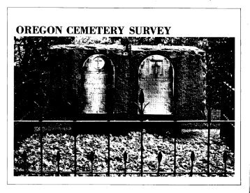 OREGON CEMETERY SURVEY - State of Oregon