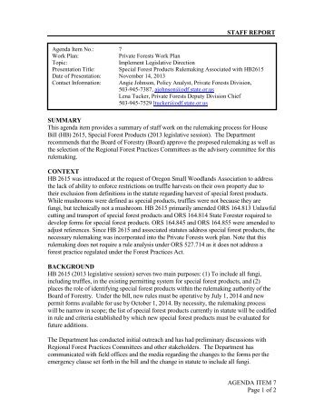 Special Forest Products Rulemaking Associated ... - State of Oregon