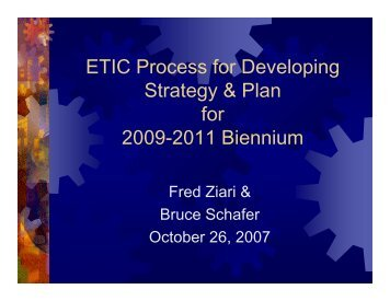 ETIC strategy for the 2009-2011 biennium - Engineering and ...