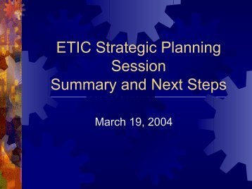 Results of March 8 Planning Session - Engineering and Technology ...