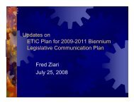 Updates on ETIC Plan for 2009-2011 Biennium Legislative ...