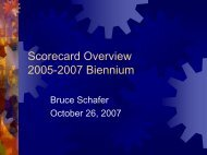 Scorecard Overview 2005-2007 Biennium